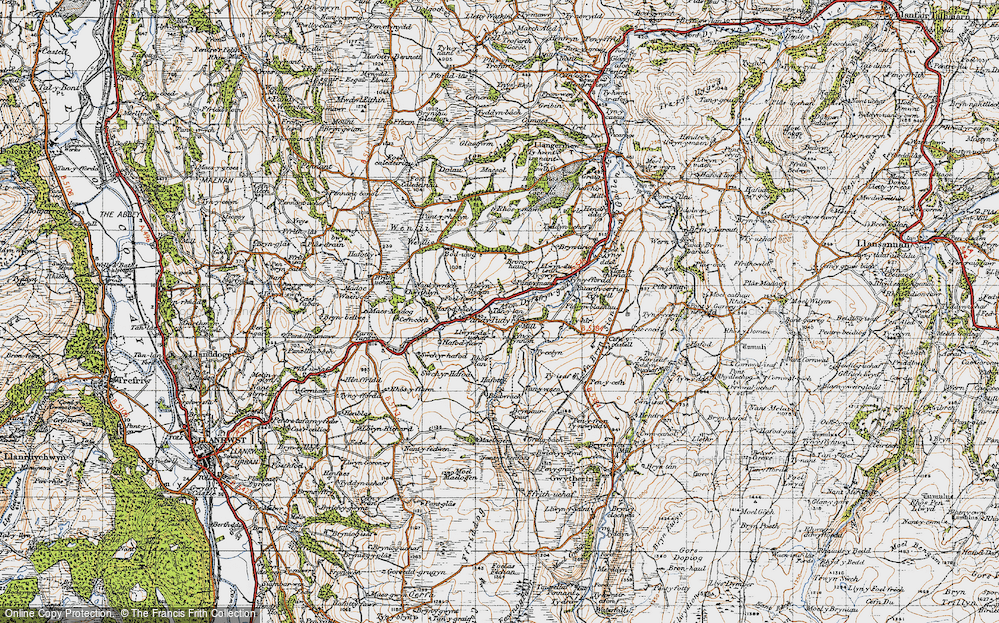 Old Map of Historic Map covering Afon Derfyn in 1947