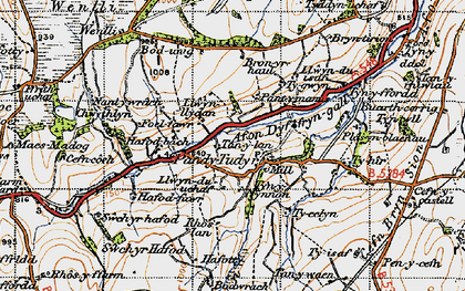 Old map of Afon Dyffryn-gall in 1947