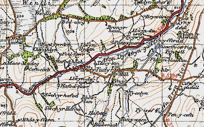 Old map of Afon Dyffryn-gall in 1947