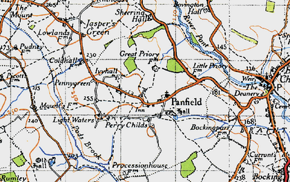 Old map of Panfield in 1945