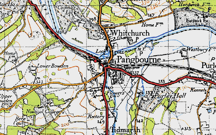 Old map of Pangbourne in 1947