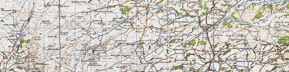 Old map of Aberclawdd in 1947