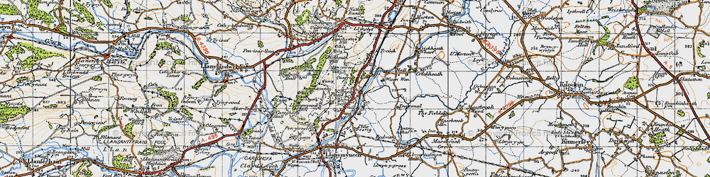 Old map of Pant in 1947