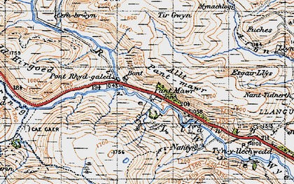 Old map of Allt Pant-mawr in 1947