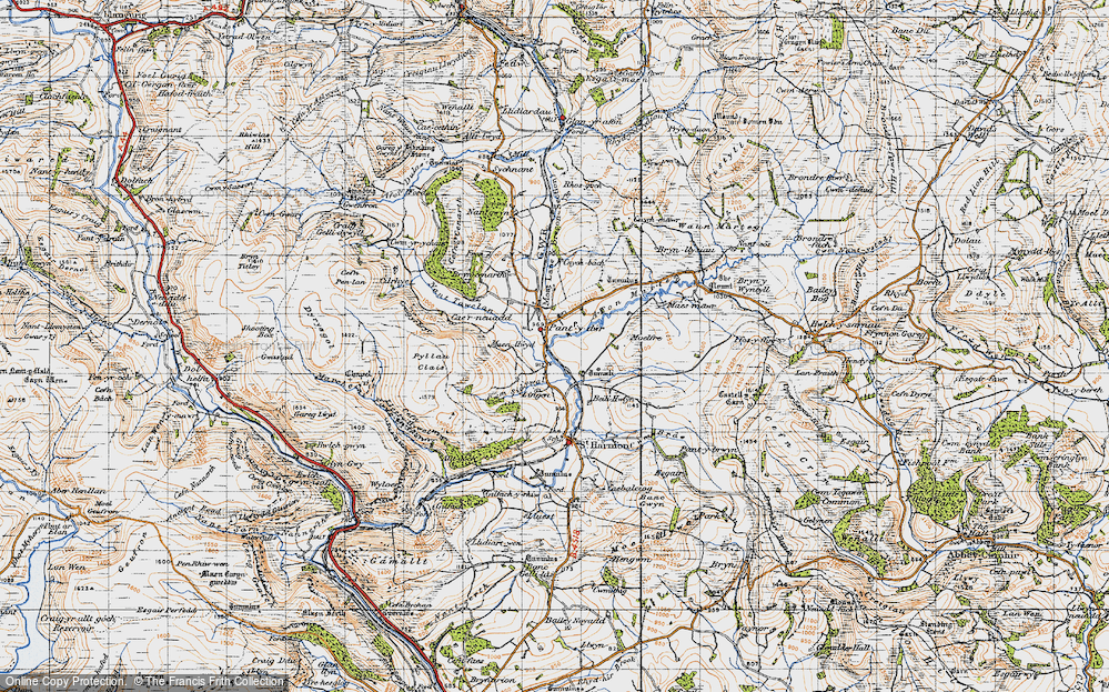 Old Map of Historic Map covering Afon Marteg in 1947