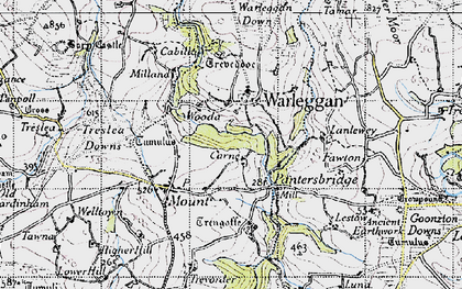 Old map of Lantewey in 1946