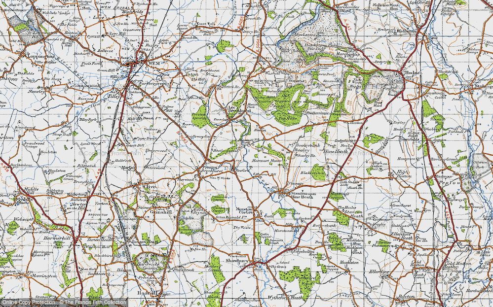 Old Map of Historic Map covering Besford Wood in 1947