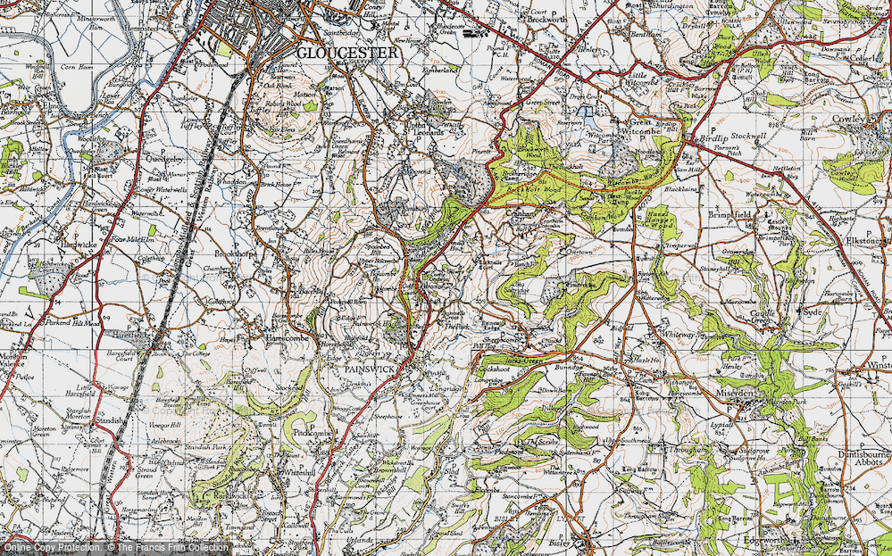 Old Map of Historic Map covering Tocknells Court in 1946