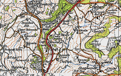 Old map of Tocknells Court in 1946