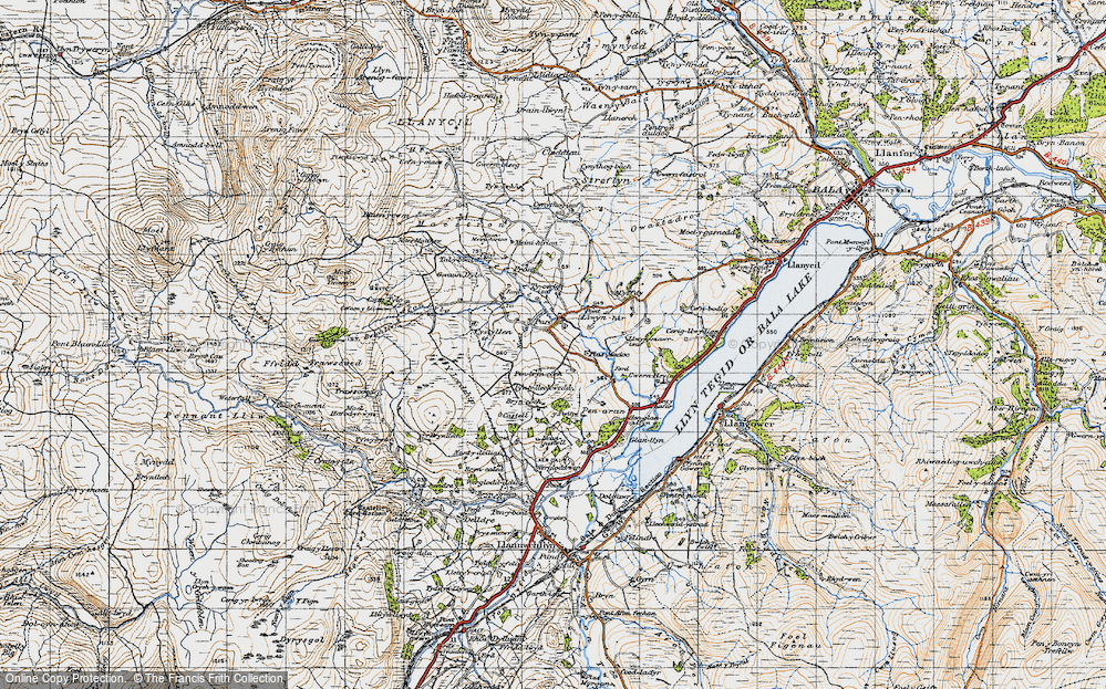Old Map of Historic Map covering Afon Dylo in 1947