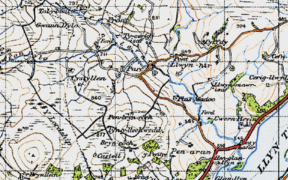 Old map of Afon Dylo in 1947