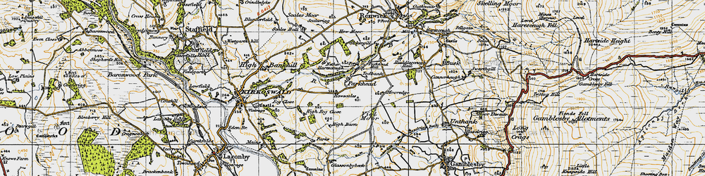 Old map of Todbank in 1947