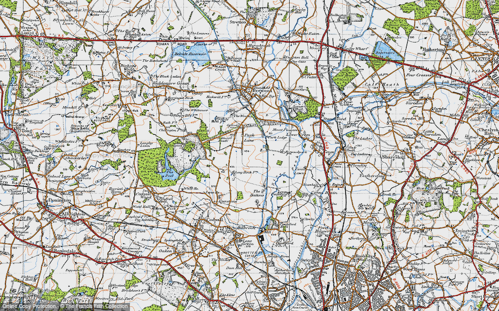 Old Map of Historic Map covering Ackbury Heath in 1946