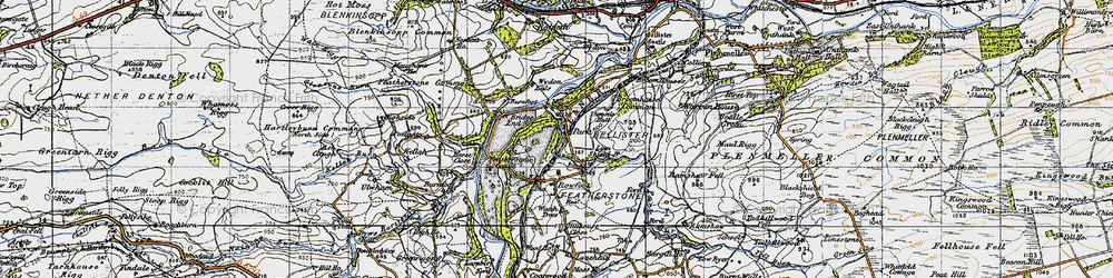 Old map of Wydon Eals in 1947