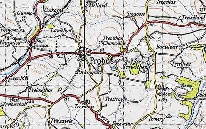 Old map of Parkengear in 1946