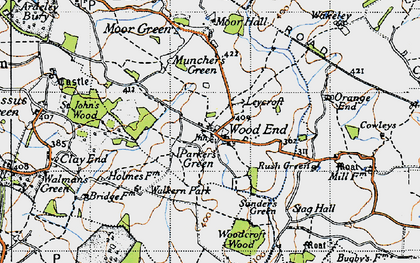 Old map of Parker's Green in 1946