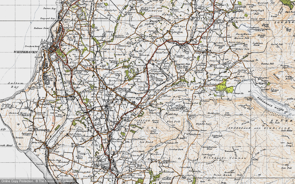 Old Map of Historic Map covering Lingla Beck in 1947