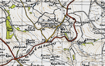 Old map of Parracombe in 1946