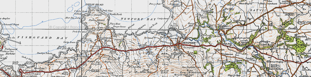 Old map of Aber Rhigian in 1947