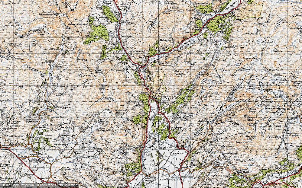 Old Map of Historic Map covering Aberglaslyn Hall in 1947