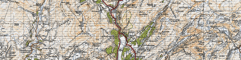 Old map of Pass of Aberglaslyn in 1947