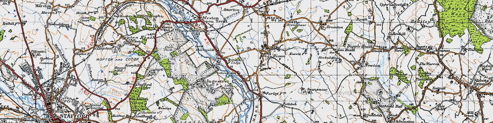 Old map of Wychdon Lodge in 1946