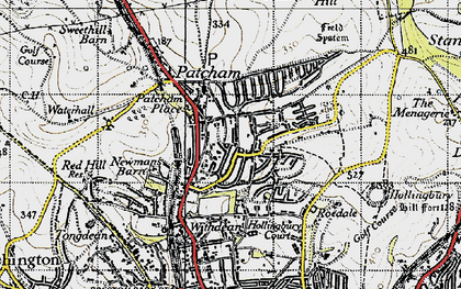 Old map of Patcham in 1940