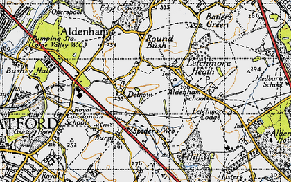 Old map of Patchetts Green in 1946