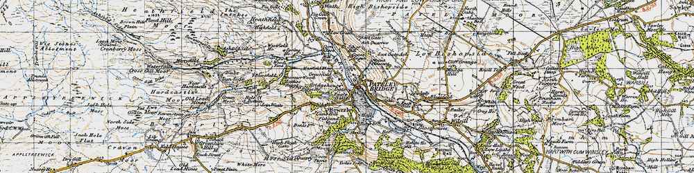 Old map of Pateley Bridge in 1947