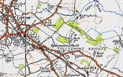 Old map of Layer Brook in 1945