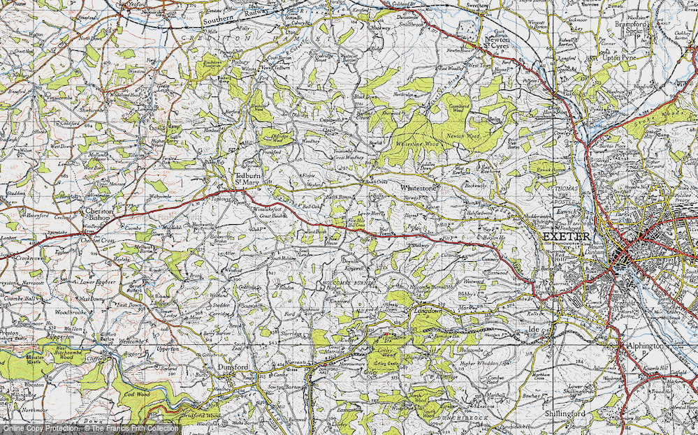 Old Map of Historic Map covering Woodlands in 1946