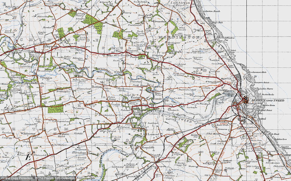 Old Map of Historic Map covering Baitsrand in 1947