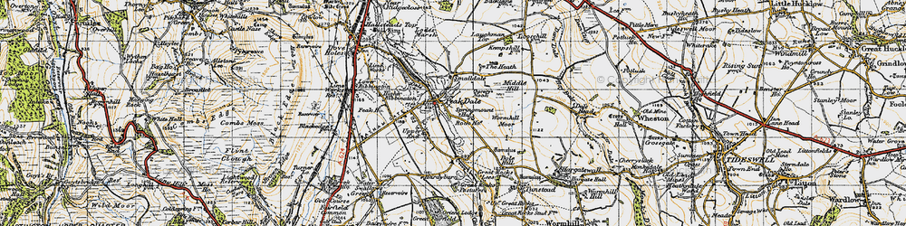 Old map of Wormhill Moor in 1947