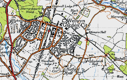 Old map of Peartree in 1946