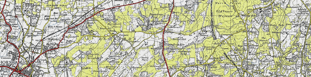 Old map of Pease Pottage in 1940