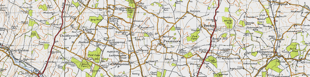 Old map of Peasemore in 1947
