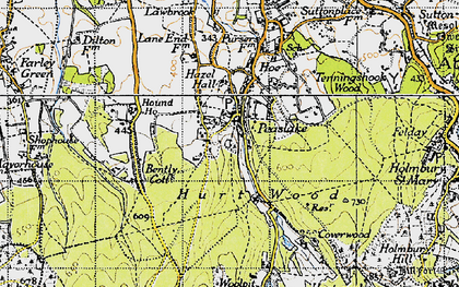 Old map of Winterfold Heath in 1940