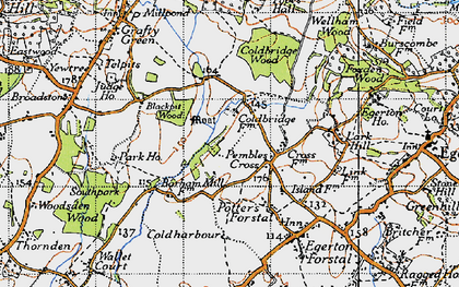 Old map of Link House in 1940