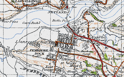 Old map of Pembroke Dock in 1946