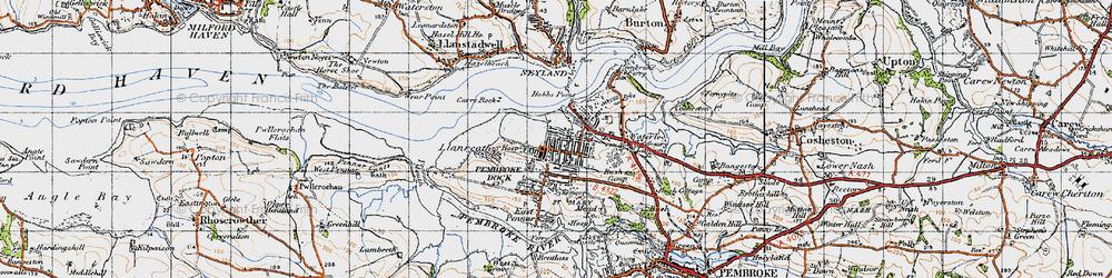 Old map of Pembroke Dock in 1946