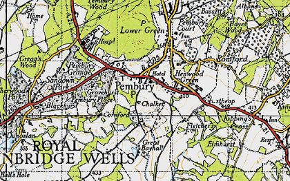 Old map of Pembury in 1946