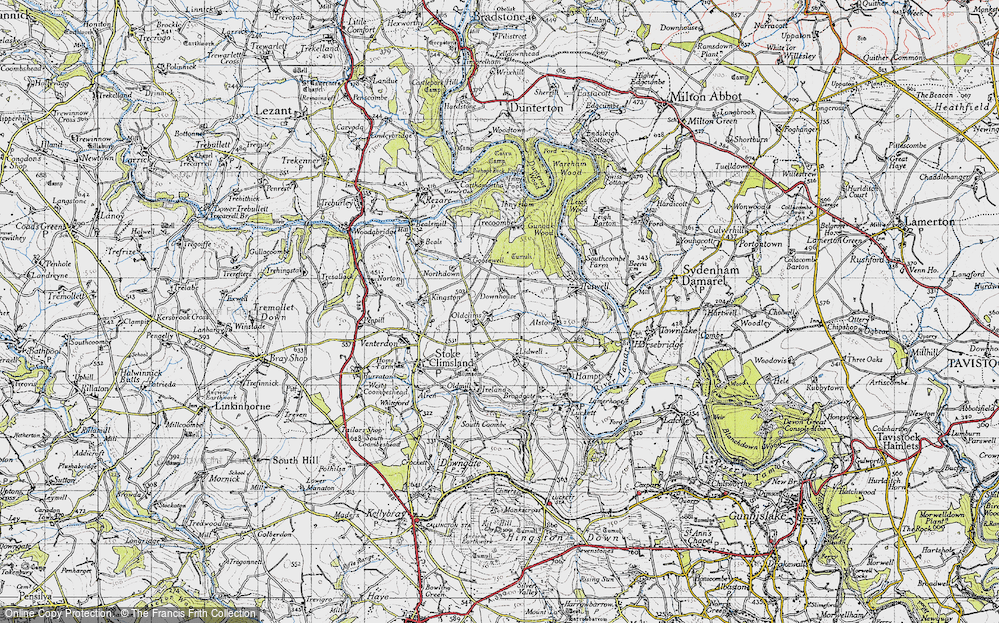 Old Map of Historic Map covering Lidwell in 1946