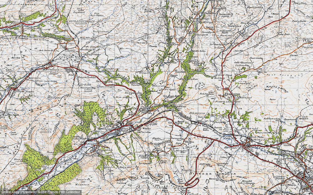 Old Map of Historic Map covering Afon Pyrddin in 1947