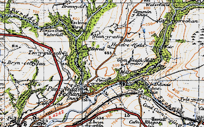 Old map of Afon Pyrddin in 1947