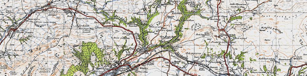 Old map of Afon Pyrddin in 1947