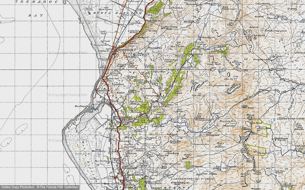 Old Map of Historic Map covering Afon Cwmnantcol in 1947
