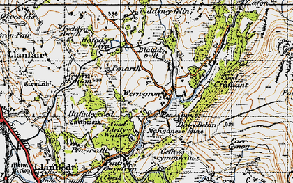 Old map of Afon Cwmnantcol in 1947