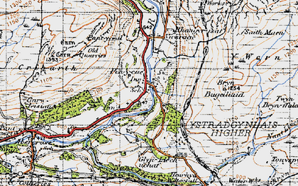 Old map of Pen-y-cae in 1947