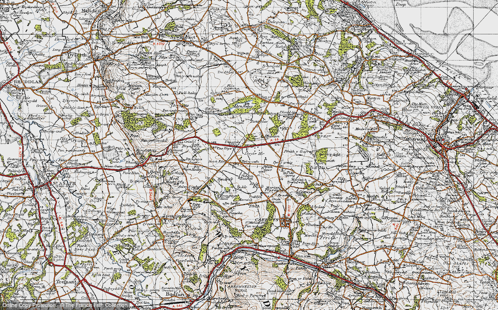 Old Map of Historic Map covering Rhos in 1947