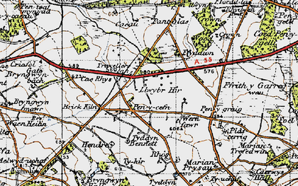 Old map of Rhos in 1947